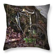 Abandoned Bicycle Throw Pillow