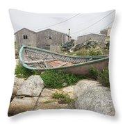 Abandoned Boat Ashore Throw Pillow