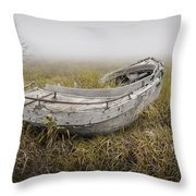 Abandoned Boat In The Grass On A Foggy Morning Throw Pillow