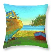 Abandoned Boats On Choctawhatchee Bay Throw Pillow