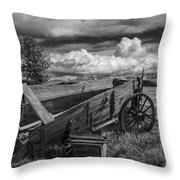 Abandoned Broken Down Frontier Wagon In Black And White Throw Pillow