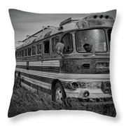 Abandoned Bus Throw Pillow