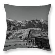 Abandoned Cabin Near Crested Butte Bw Throw Pillow by Michael Ver Sprill