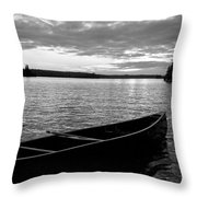 Abandoned Canoe Floating On Water Throw Pillow
