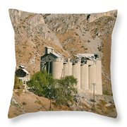 Abandoned Cement Silos Throw Pillow