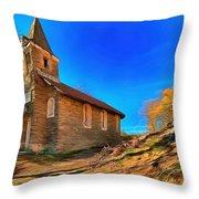 Abandoned Church Of Abandoned Village Paint - Chiesa Abbandonata Di Paesino Abbandonata Paint Throw Pillow