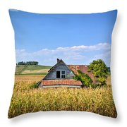 Abandoned Corn Field House Throw Pillow