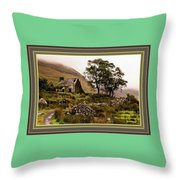 Abandoned Cottage - Scotland H A With Decorative Ornate Printed Frame Throw Pillow