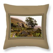 Abandoned Cottage - Scotland H B With Decorative Ornate Printed Frame Throw Pillow