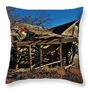 Abandoned Farmhouse In Kansas Throw Pillow