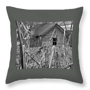 Abandoned Farmhouse Through Cornfield Throw Pillow