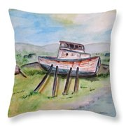 Abandoned Fishing Boat Throw Pillow by Clyde J Kell