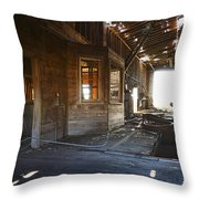 Abandoned Grain Elevator Drive Through Throw Pillow