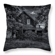 Abandoned Home In Lubec Maine Bw Version Throw Pillow