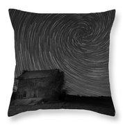 Abandoned House Spiral Star Trail Bw  Throw Pillow