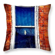 Abandoned House Window With Vines Throw Pillow