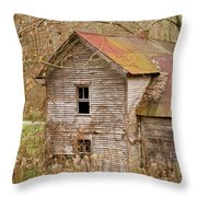 Abandoned House With Colorful Roof Throw Pillow