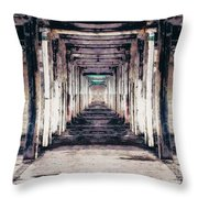 Abandoned Industrial Building Throw Pillow