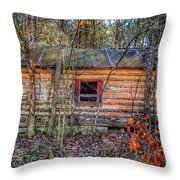 Abandoned Log Cabin Throw Pillow