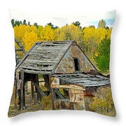 Abandoned Mine In Autumn Throw Pillow