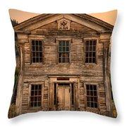 Abandoned Montana School Throw Pillow