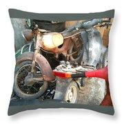 Abandoned Motorbike  Throw Pillow