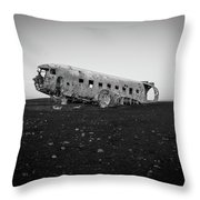 Abandoned Plane On Beach Throw Pillow