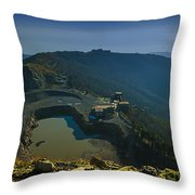 Abandoned Quarry With Lake Sea And Genoa Panorama Throw Pillow