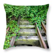 Abandoned Rail Road Tracks  Throw Pillow