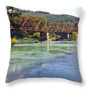 Abandoned Railroad Bridge Throw Pillow