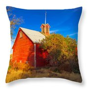 Abandoned Red Barn Throw Pillow
