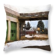 Abandoned Service Station Painterly Impressions Throw Pillow