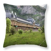 Abandoned Side Of The Canfranc International Railway Station Throw Pillow