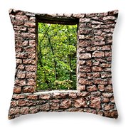 Abandoned Stone Wall With Window Throw Pillow