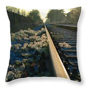 Abandoned Tracks Throw Pillow