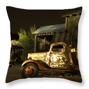 Abandoned Truck And School Bus In Ghost Town Throw Pillow