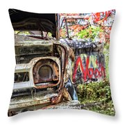 Abandoned Truck With Spray Paint Throw Pillow