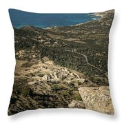Abandoned Village Of Occi And The Coast Of Corsica Throw Pillow