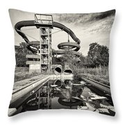 Lets Have A Splash - Abandoned Water Park Throw Pillow