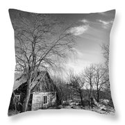 Abandoned Wooden Shack In Winter Throw Pillow
