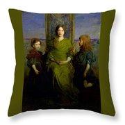 Abbott Handerson Thayer - Mother And Children Throw Pillow