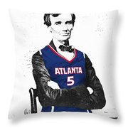 Abe Lincoln In A Josh Smith Atlanta Hawks Jersey Throw Pillow