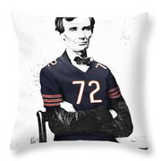 Abe Lincoln In A William Perry Chicago Bears Jersey Throw Pillow
