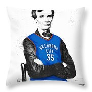 Abe Lincoln In An Kevin Durant Okc Thunder Jersey Throw Pillow