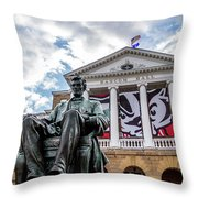 Abe On Bascom Hill Throw Pillow