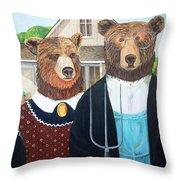 Abearican Gothic Throw Pillow