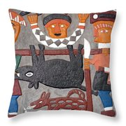Aboriginal Painted Wall Decoration Throw Pillow