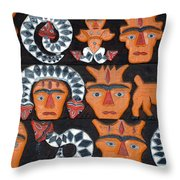 Aboriginal Painted Wood Carvings Throw Pillow
