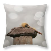 Above It All - Brown Pelican Throw Pillow