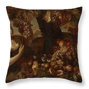 Abraham Brueghel After, Girl With Grapes And Still Life With Fruit. Throw Pillow